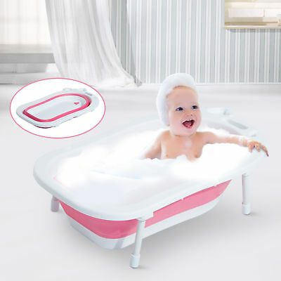 HOMCOM Collapsable Baby Bath Tub Infant 30L Foldable Toddler Shower Wash Pink