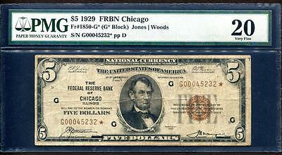 1929 $5 CHICAGO ☆STAR☆ FRBN NATIONAL CURRENCY ☆ PMG VERY FINE 20  Fr.1850-G☆