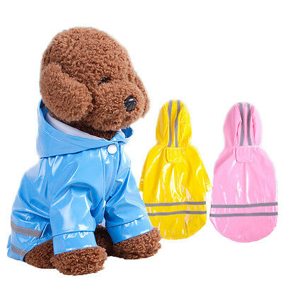 Reflective Dog Puppy Cat RainCoat Waterproof Pet Clothes Jacket Hoodie Rainwear