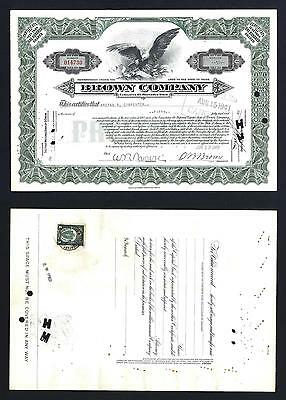 Brown Company 50 share Preferred stock with US revenue on back 1941 - Lot # 131