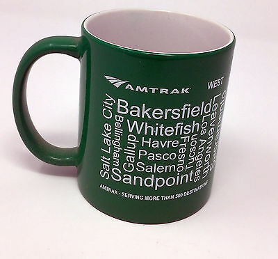 Amtrak West Coast Service Green Coffee Mug Very Nice Railroad