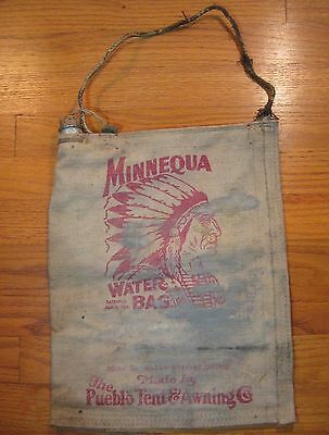 Antique Vintage Minnequa Radiator Water Canvas Flax Bag- by Pueblo Tent & Awning