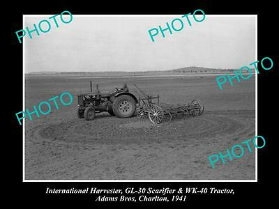Old Historic Photo Of International Harvester Gl-30 Scarifier Wk-40 Tractor 1941