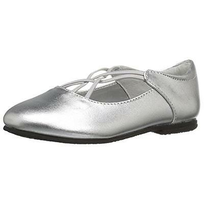 Balleto 4079 Girls Kendra Silver Ballet Flats Shoes 7.5 Medium (B,M) BHFO