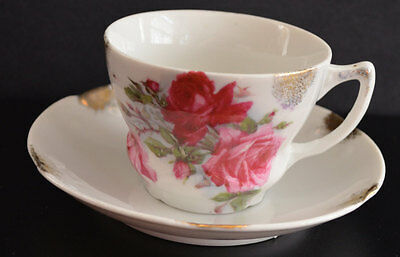Vintage Beautiful Bone China Tea Cup and Saucer Rose Pattern Gold Trim