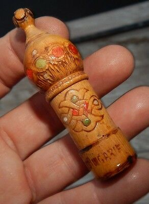 antique perfume bottle wood wooden russian? floral vintage turret display mini