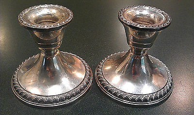ROGERS STERLING SILVER  Pair of Matching Candlesticks 534g