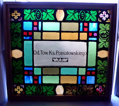 Antique Vtg Church Stained Glass Window Architectural Salvage Colorful Panel S13