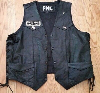 Harley Davidson Leather Vest [44] Xl Front Snaps- Pockets- Pins & Patches