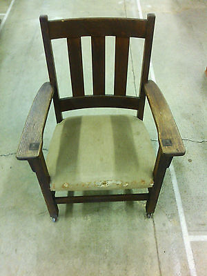 Antique CHARLES LIMBERT Signed Arts & Crafts Oak MISSION arm chair