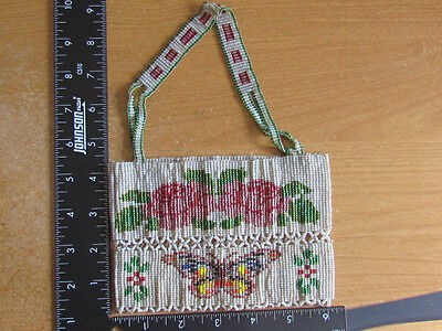 beautiful victorian period American Indian beaded purse with roses & butterflies