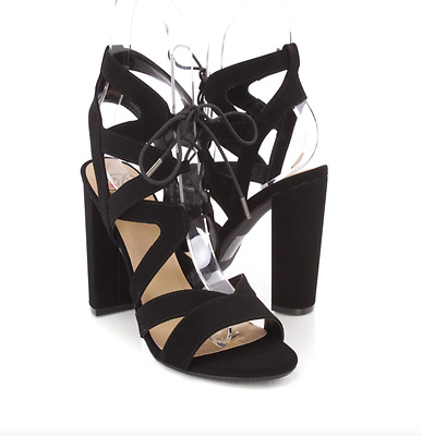 ab0c7d31c45 Black Lace Up Cut Out High Heels Stiletto Fashion New Hot Out Summer Thick  Block