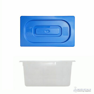 12x Food Pan with Blue Lid 1/3 GN Size 200mm Deep Polypropylene Gastronorm