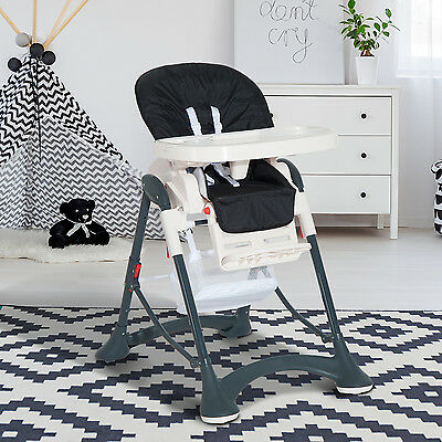 HOMCOM High Chair Baby Infant Toddler Folding Feeding Compact Safety Belt Black