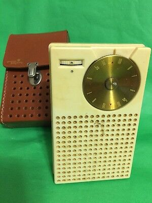 REGENCY TR-1 TRANSISTOR RADIO Cream Color with Leather Case Working !!!Nice !!!!