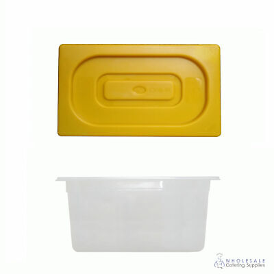 12x Food Pan with Yellow Lid 1/3 GN Size 200mm Deep Polypropylene Gastronorm