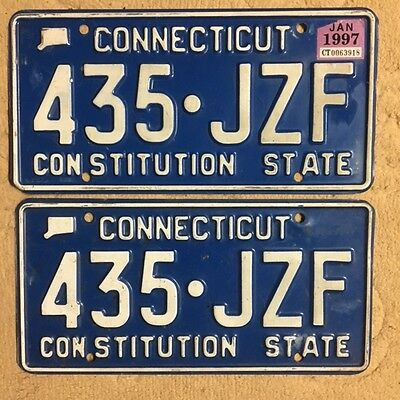 Pair of 1997 Connecticut License Plate Plates # 435 - JZF