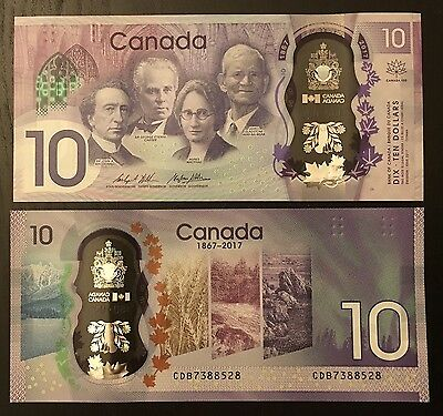 2017 Canada 150th Anniversary Commemorative 10 Dollar Bank Note