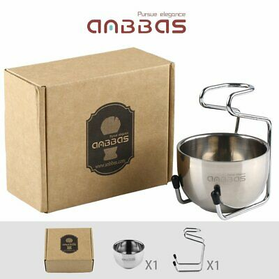 1 pc New Unique Design Stainless Steel Shave Brush Stand and Bowl by Anbbas