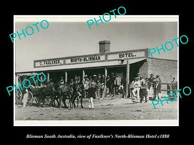 OLD LARGE HISTORIC PHOTO OF BLINMAN SOUTH AUSTRALIA, THE FAULKNER HOTEL c1880