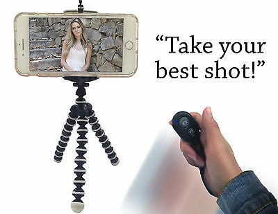 Mini-Flexible Octopus Tripod Holder Remote Shutter for Cell Phone iPhone Android