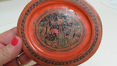 Vintage Burmese  Lacquer Tray Elephant in Center Medallion  Shan Region