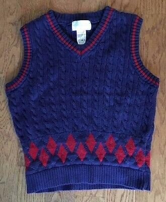 STRASBURG Boy's Sweater Vest Size 8-10 Navy Red NICE! Free ship!