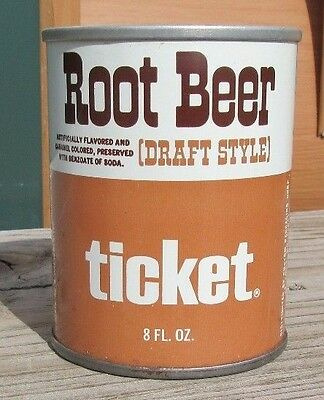 1970's Straight Steel Ticket Root Beer 8 FL OZ Pull Tab Soda Can Bottom Open