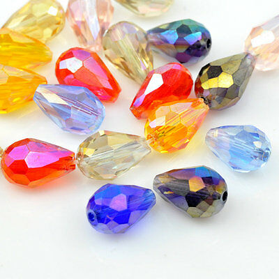 50pcs Crystal Beads Loose Spacer Teardrop Faceted Mixed Color 10x15mm Wholesale