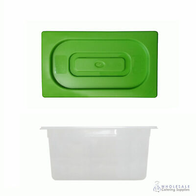 12x Food Pan with Green Lid 1/3 GN Size 200mm Deep Polypropylene Gastronorm