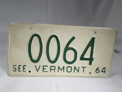 1964 Vermont Low Number Car License Plate Promo Sample