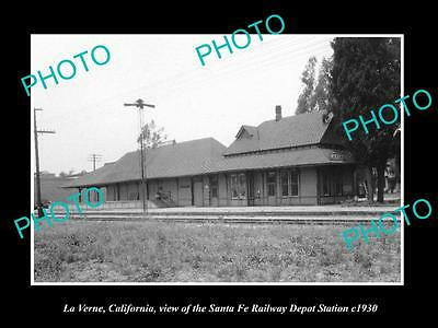OLD LARGE HISTORIC PHOTO OF LA VERNE CALIFORNIA, RAILROAD DEPOT STATION c1930