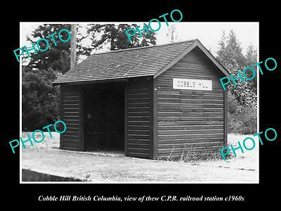 OLD LARGE HISTORIC PHOTO OF COBBLE HILL BC CANADA, THE CPR RAILWAY STATION c1960