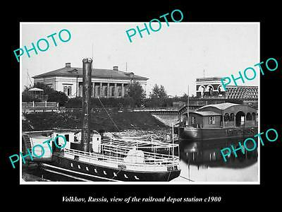 OLD LARGE HISTORIC PHOTO OF VOLKHOV RUSSIA, THE RAILROAD DEPOT STATION c1900