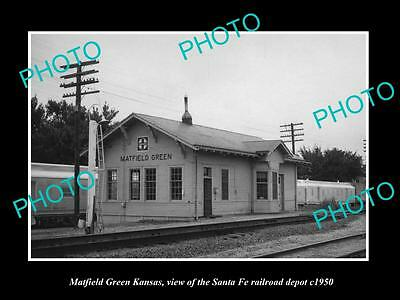 OLD LARGE HISTORIC PHOTO OF MATFIELD GREEN KANSAS SANTA FE RAILROAD DEPOT c1950