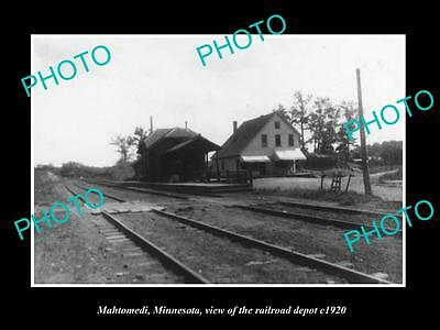 Old Large Historic Photo Of Mahtomedi Minnesota, The Railroad Depot Station 1920