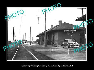 OLD LARGE HISTORIC PHOTO OF ELLENSBURG WASHINGTON RAILROAD DEPOT STATION c1940