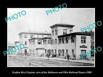 OLD LARGE HISTORIC PHOTO OF GRAFTON WEST VIRGINIA, THE RAILROAD STATION c1900