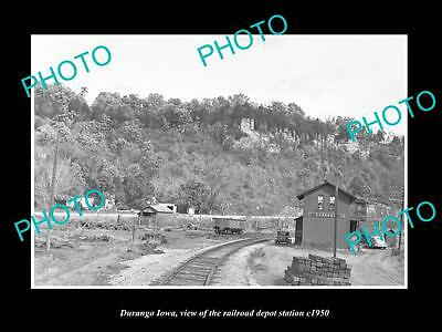 OLD LARGE HISTORIC PHOTO OF DURANGO IOWA, THE RAILROAD DEPOT STATION c1950