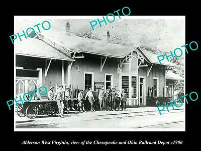 OLD LARGE HISTORIC PHOTO OF ALDERSON WEST VIRGINIA, THE RAILROAD STATION c1900