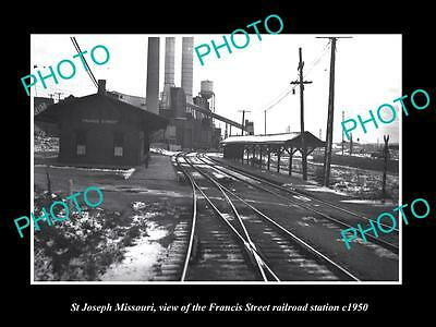 OLD LARGE HISTORIC PHOTO OF ST JOSEPH MISSOURI, FRANCIS ST RAILROAD DEPOT c1950