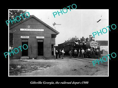 OLD LARGE HISTORIC PHOTO OF GILLSVILLE GEORGIA, THE RAILROAD DEPOT STATION c1900