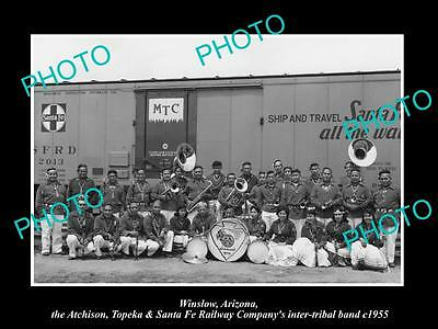 OLD LARGE HISTORIC PHOTO OF WINSLOW ARIZONA, SANTA FE RAILROAD INDIAN BAND c1955