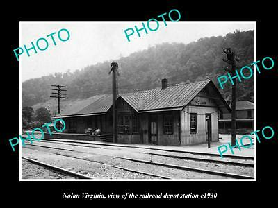 OLD LARGE HISTORIC PHOTO OF NOLAN VIRGINIA, THE RAILROAD DEPOT STATION c1930