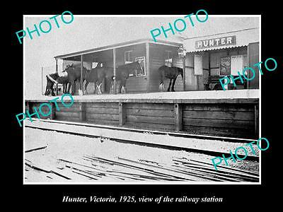 OLD LARGE HISTORIC PHOTO OF HUNTER VIC, BENDIGO AREA, THE RAILWAY STATION c1925