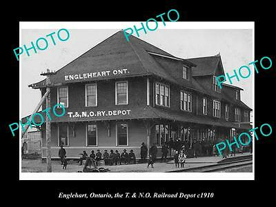 Old Historic Photo Of Englehart Ontario Canada, View Of The Railway Station 1910