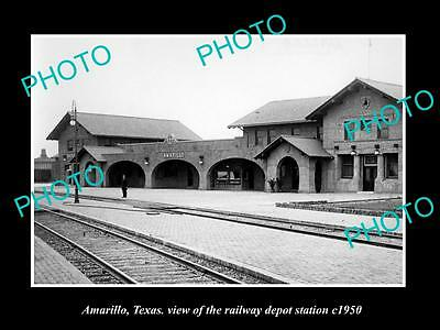 OLD LARGE HISTORIC PHOTO OF AMARILLO TEXAS, THE RAILROAD DEPOT STATION c1950s