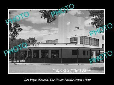 OLD LARGE HISTORIC PHOTO OF LAS VEGAS NEVADA, UNION PACIFIC RAILROAD DEPOT c1940