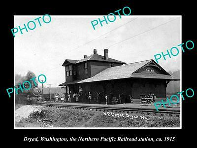 Old Large Historic Photo Of Dryad Washington, The Railroad Depot Station 1915