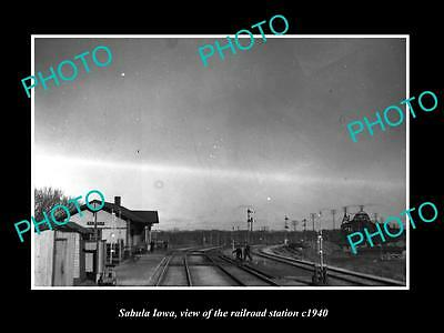OLD LARGE HISTORIC PHOTO OF SABULA IOWA, THE RAILROAD DEPOT STATION c1940